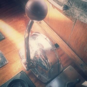 Der Gashebel im Ruderhaus.